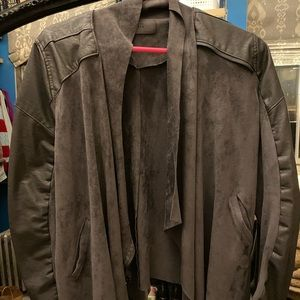 Faux Suede & Leather Moto Jacket